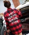 АНТИ СОЦИАЛЬНЫЕ SOCIAL CLUB ПЛЕД футболка Высокого Качества Моды Новый женский С Длинными рукавами Футболки рубашки Хип-Хоп скейтборд Kanye агос