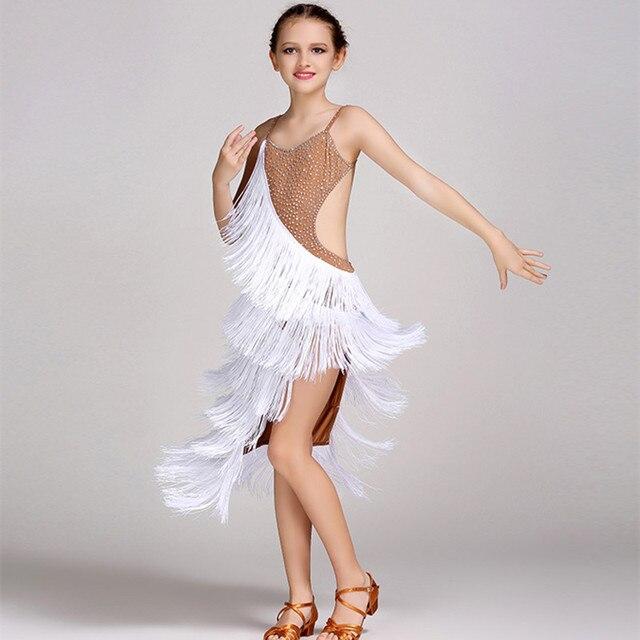 62b6c6062895 kids Latin dance dress for girls white tassel modern dance costumes ...
