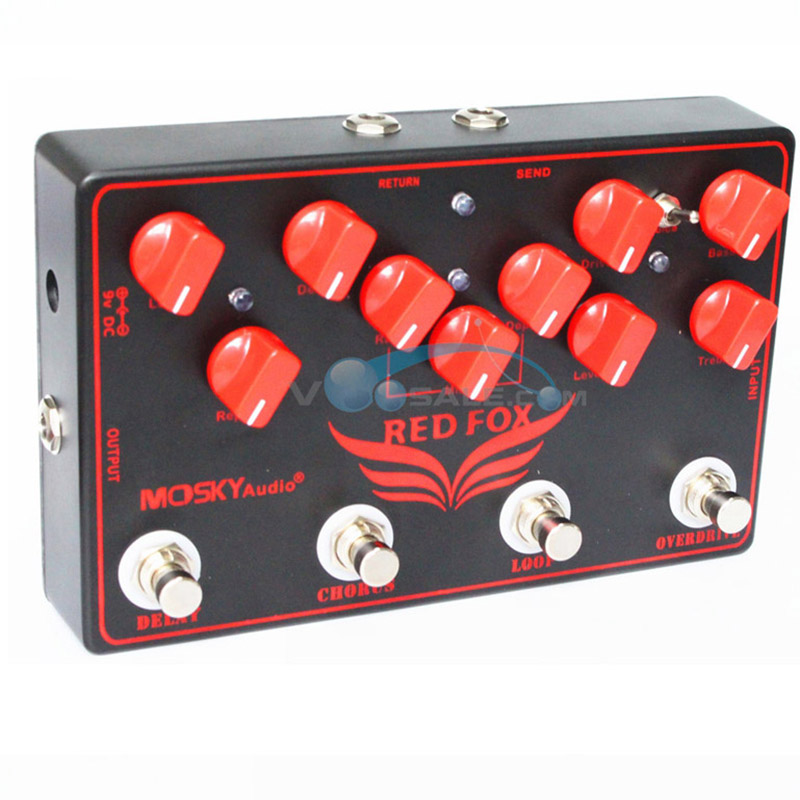 Mosky Red Fox Multi-Effects Combined Pedal Effect Guitar Accessories 4 Effects Pedal in 1 Unit  :  Overdrive ,LOOP,Chorus, Delay