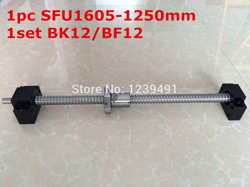 1Set SFU1605 Ballscrew  1250mm end machined+ 1set BK/BF12 Support RM 1605-c7