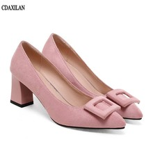 CDAXILAN new women pumps Faux  suede 7cm high square heels pointed toe shoes summer dress office lady shallow shoes тостер kenwood ttm 021 a