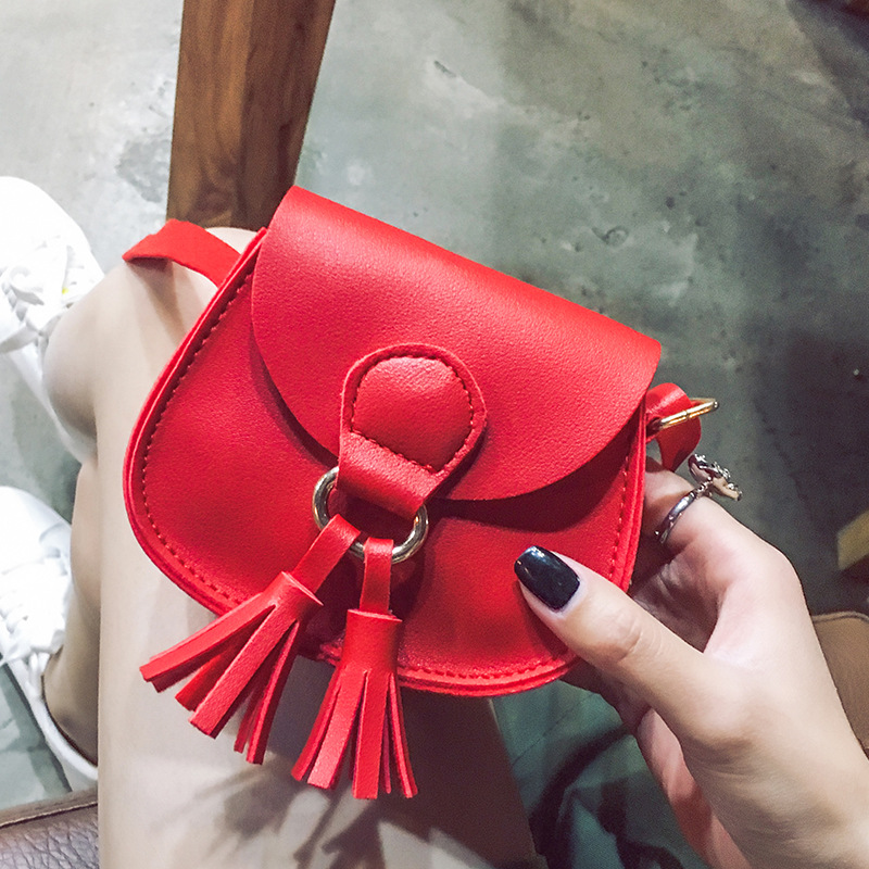 Cute Children's Messenger Bag PU Leather Lovely Girls Tassel Mini Accessories Shoulder Bag Kids All-Match Small Key Coin Purse