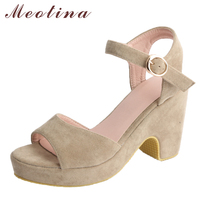 Meotina Women Sandals High Heels Platform Shoes Open Toe Thick Heels Buckle Sandals 2018 Summer New
