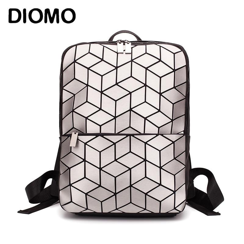 DIOMO 2019 Geometric Rhombic Backpack Women Fashion Luxury Bagpack Silver Female Bag Travel Laptop Bookbag Girls