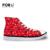 FORUDESIGNS Moda Calçados vulcanizados Clássicos das Mulheres Estrelas Impresso de Alta Top Sapatos de Lona Do Sexo Feminino Casual Rendas até Sapatos Plimsolls