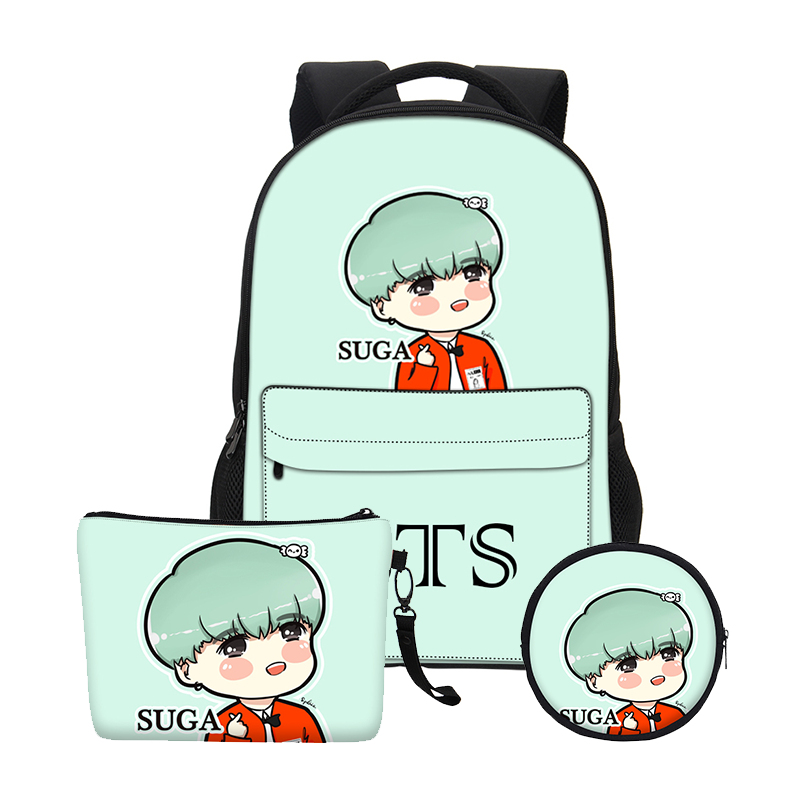 VEEVANV Fashion Gils Bookbag School Bags Set Women BTS Cartoon Organizer Printing Notebook Children Backpacks Boys Shoulder Bags