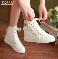 New 2017 Women Canvas Shoes High Top White Zapatillas Shoes Women Flat Casual Shoes High Quality