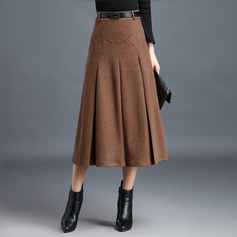 M 4XL, новинка, Женская юбка, зима осень 2019, модная, элегантная, шерсть, смесь, юбки, утолщенная, плиссированная, тонкая, средней длины, юбка для женщин