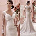 2016 New Wedding Dress White Ivory A-LineTulle Mariage Dress Lace Floor Length V Neck Bridal Formal Occasion Dress Back Sheer