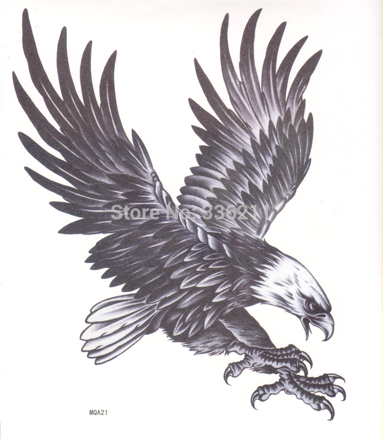 3pcs Temporary large tattoo eagle designs Waterproof body painting ...