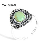 YA CHAN Vintage Real 925 Sterling Silver Ellipse Geometric Rings Adjustable Turquoise Rings Fine Jewelry For