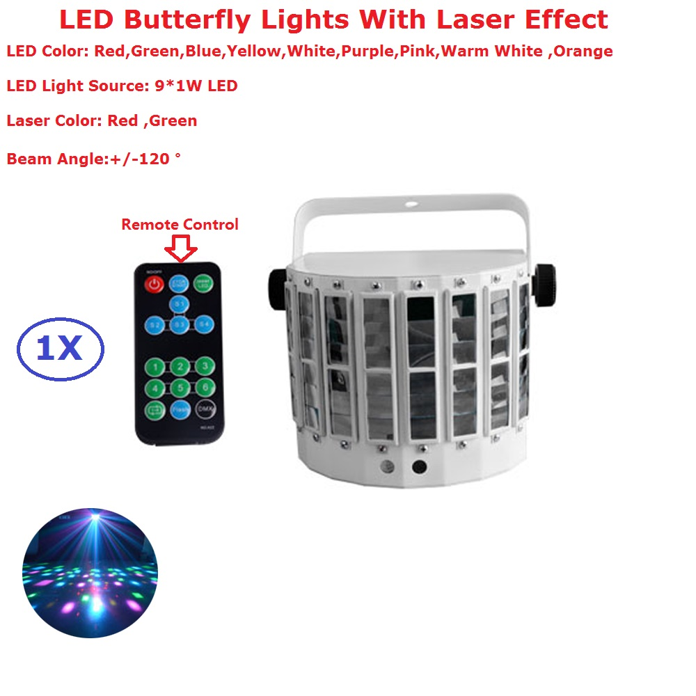 9LEDs Mini Butterfly Professional LED Stage Effect Lights Portable 150mw RG Two Color Laser Lights For New Year Decoration9LEDs Mini Butterfly Professional LED Stage Effect Lights Portable 150mw RG Two Color Laser Lights For New Year Decoration