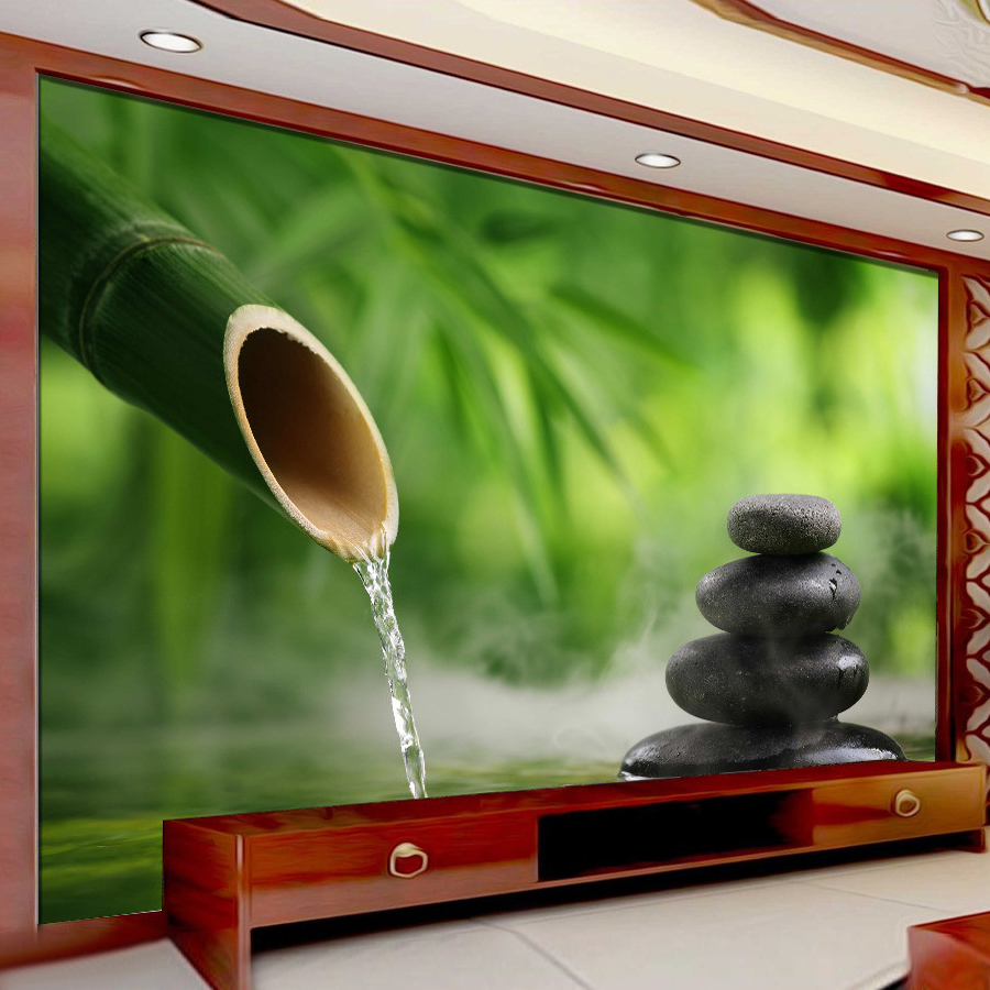 Custom 3D Photo Wallpaper Green Bamboo Cobblestone Photography Background Wall Painting Decorations Living Room Modern Wallpaper