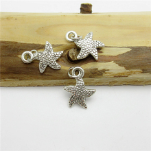 100PCS (13*12mm )Antique Silver sea star Charms pendant fit European bracelet made diy Pendants for jewelry making