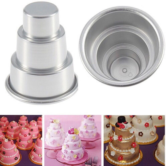 2015 Special Mini 3 Tier Cake Pan Tins Cupcake Pudding Pizza Mould - Mini Wedding Cake Mold