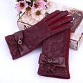 New 2015 PU Leather Lace Women Gloves Fashion Wrist Warm Women's Leather Gloves Winter Thickening Elegant Gloves For Women
