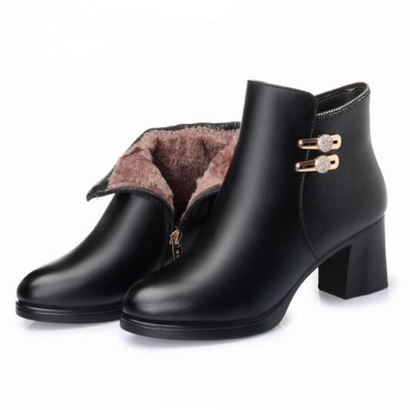 red Comfort Moda Stivali inverno Mucca Black Di Winter Donna Modo Boots Boots Rhinestone Boots Caldo Nuovo Da Antiscivolo Pelle Autunno Single Scarpe Donne 2018 black twO6ARq