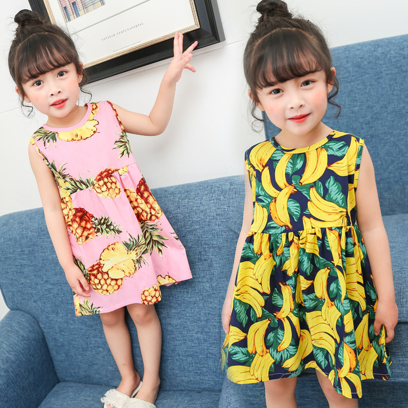 JOMAKE Girls Dress 2018 New Baby Sleeveless Summer Dress Fruit Pineapple Banana Printed Kids Princess Dresses For Girls Clothing jomake girls dress 2017 new winter cute watermelon printed kids dresses for girls fleece princess dress children clothing 2 7y