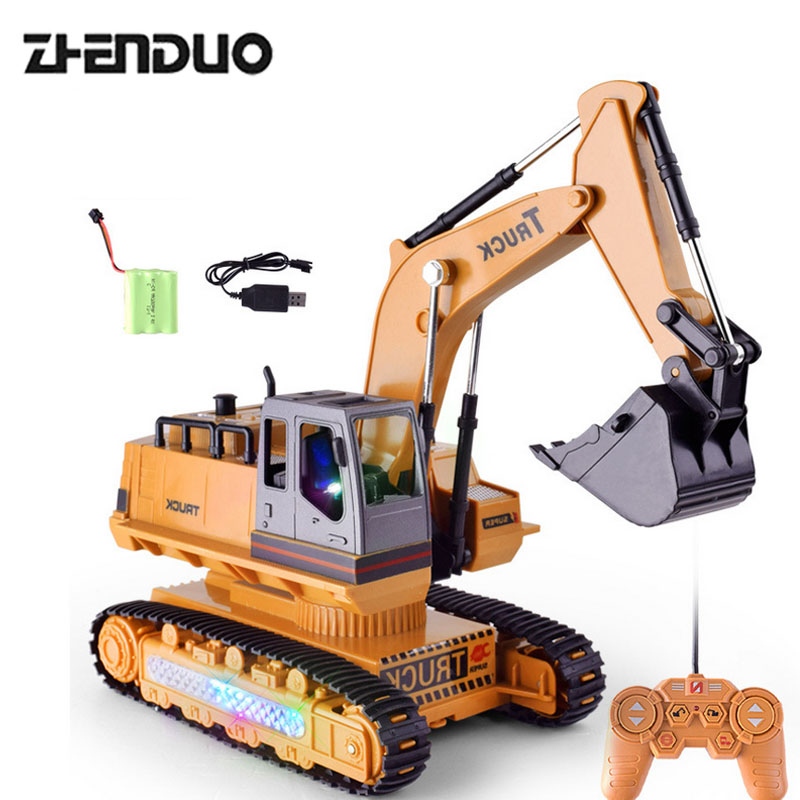 ZhenDuo 8 Channel Multifunctional RC Excavator, Battery Powered Electric Remote Control Construction Truck With Lights & Sound chunghop rm l7 multifunctional learning remote control silver