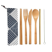 6pcs/set Travel Straw Portable Knife Picnic Natural Bamboo Reusable Cutlery Set With Cloth Bag Eco-friendly Spoon Fork Chopstick