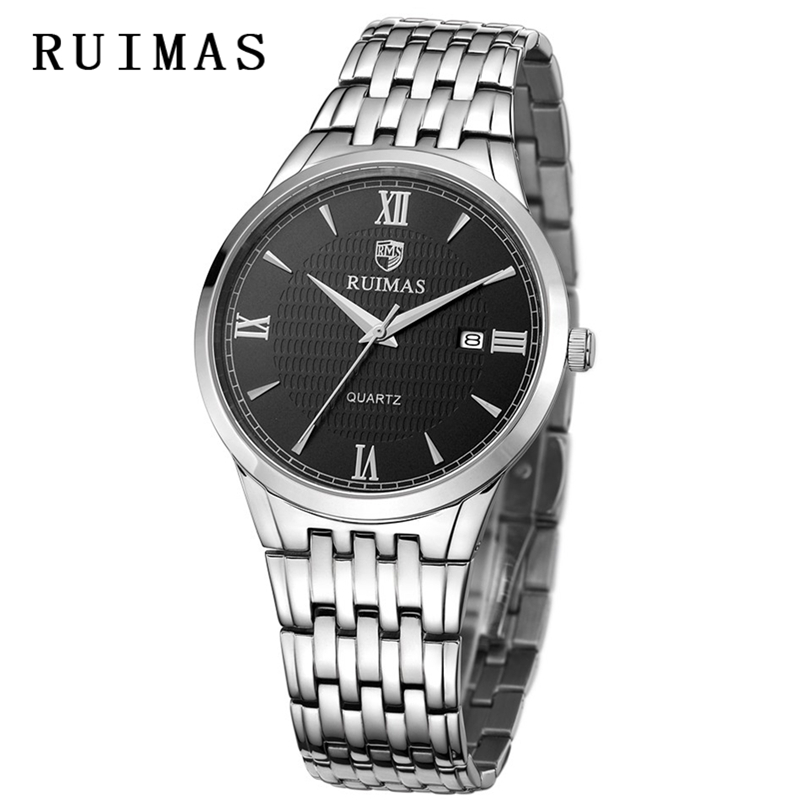 Business Men Watch Wristwatches Waterproof Classic Male Quartz Watches Stainless Steel RUIMAS Gentleman Clock Relogio Masculino crrju men black stainless steel band luxury quartz clock male classic business calendar waterproof wrist watch relogio masculino
