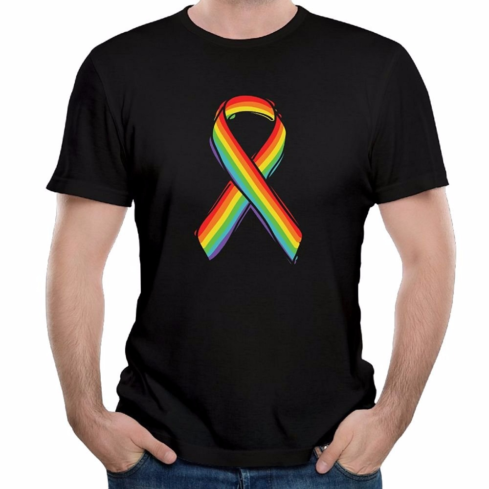 Shop Shirts Crew Neck Short-Sleeve Office Men Rainbow Ribbon Designed Tee Shirt Tee For Men