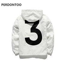 BLACK WHITE fashion Windbreaker No.3 Spring Summer Jacket Men Women Brand Fashion Streetwear Hooded Jackets Men US SIZE
