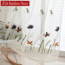 White Embroidered Tulle Curtains For Living Room Bedroom Kitchen Window Sheer Organza Voile Butterfly Cortina