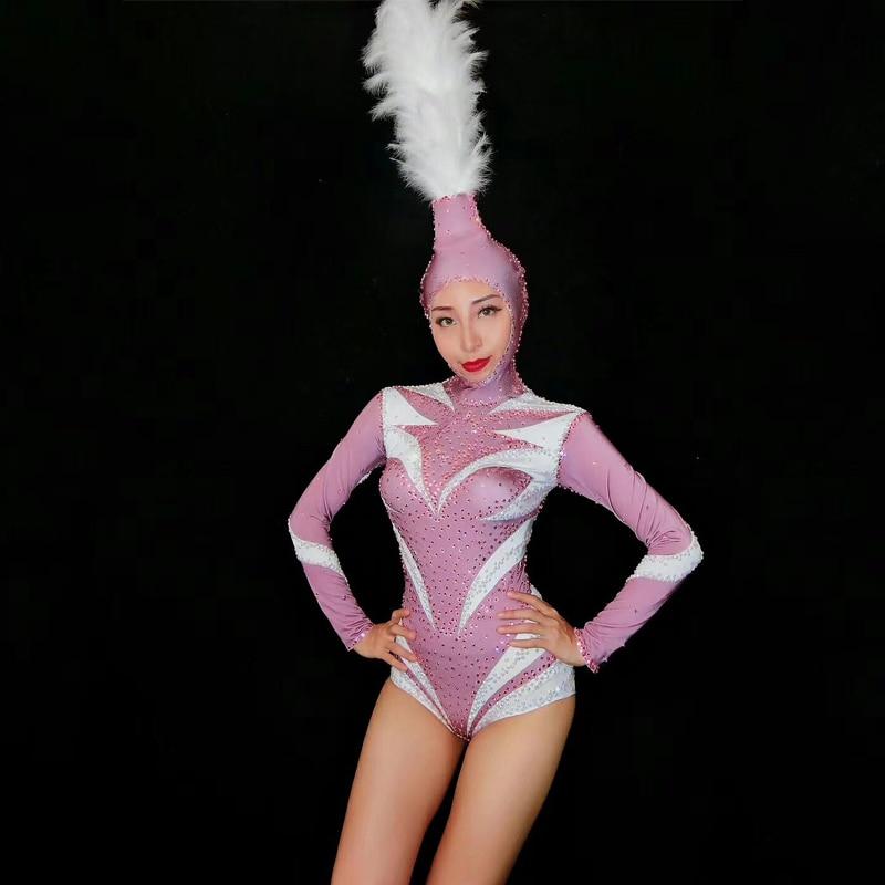 Nouveau Sexy rose Zentai strass Catsuit avec tête danse Costume pour femme fête Gogo DS Bar Dj chanteur scène Costumes DJ271