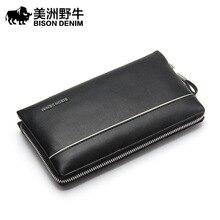 BISON DENIM Brand Handbag  Men Leather Genuine Business Large Capacity Clutch Bag Brand Men's Bag Cowhide Wallet Free Shipping