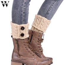 Dec17 Amazing Women Winter Knitting Leg Warmers Boot Cover Keep Warm Socks Solid Color(China)