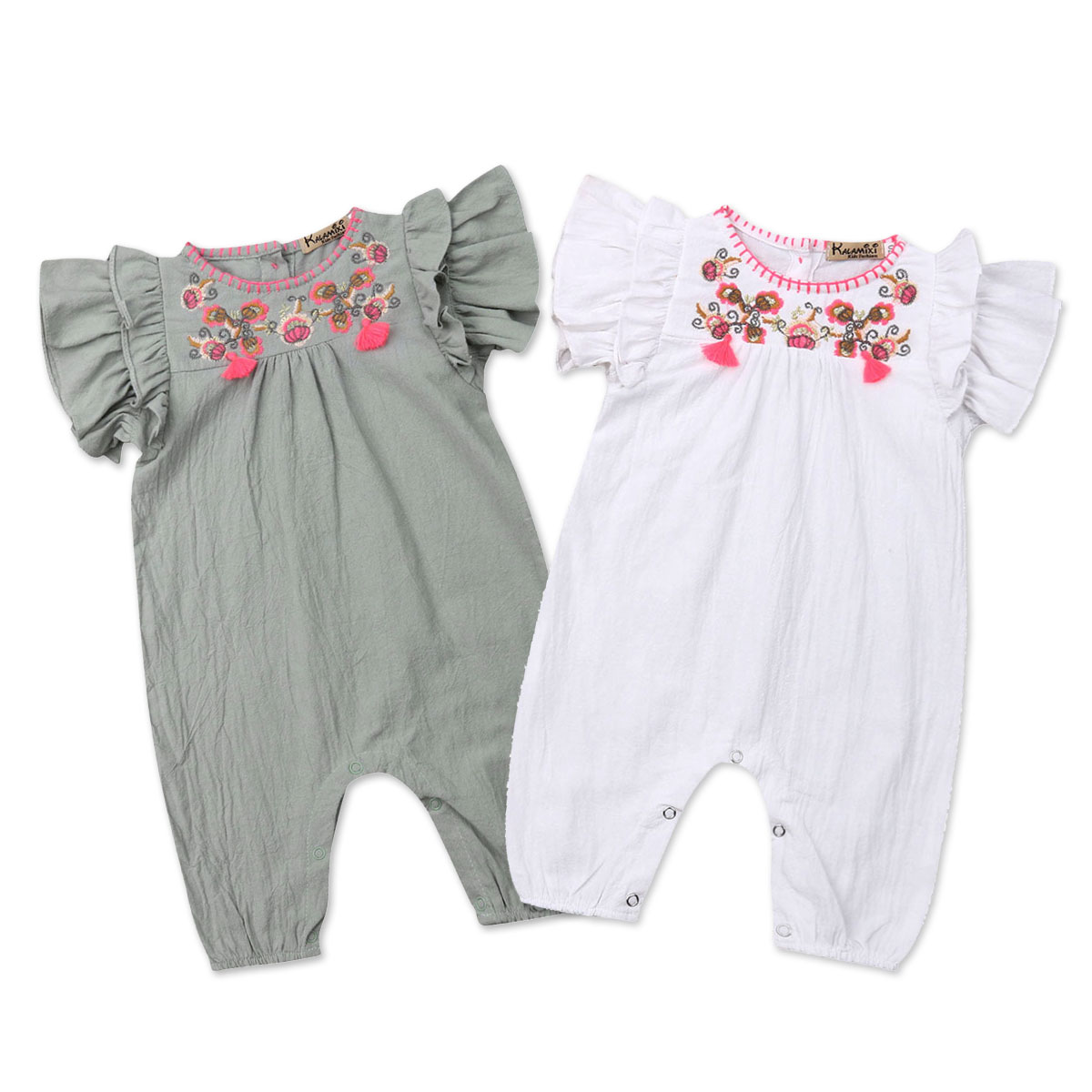 02aa4a0e8096 Summer Flower Baby Girls Clothes Newborn Infant Baby Ruffles Rompers  Jumpsuit Playsuit Baby Girls Costumes