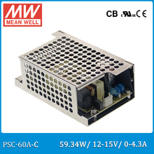 Original Meanwell PSC-60A-C 60W 12~15V 0~4.3A security power supply battery charger(UPS function) enclosed type with cover