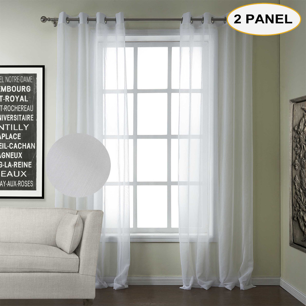 Momo White Solid Sheer Curtains Grommet