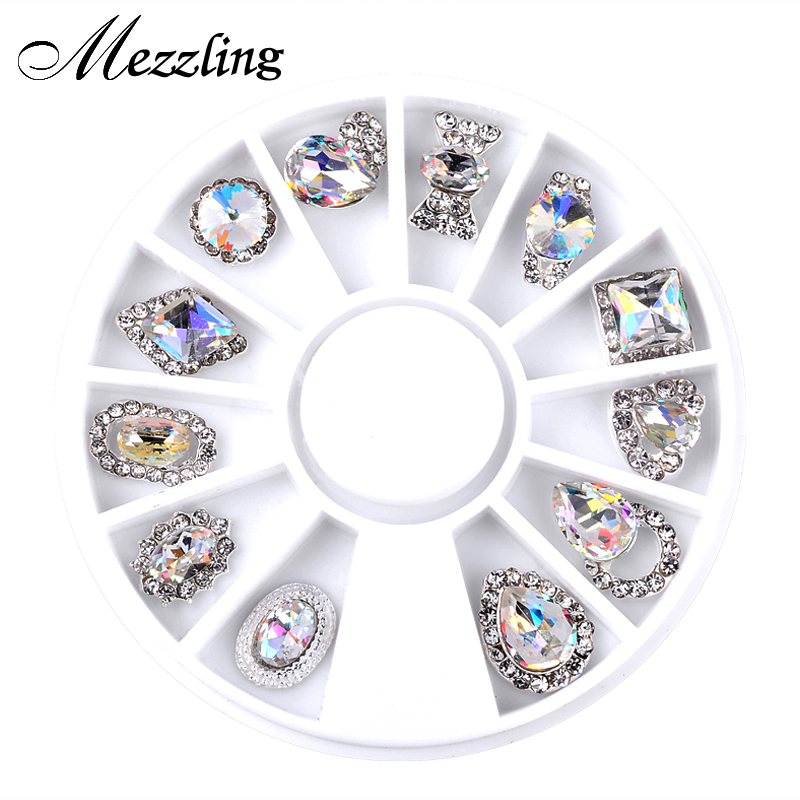 12st / Box Luxury Charm Clear AB Alloy Nail Rhinestone Diamond Decorations Hjul 3D Mix Designs Manicure Tools