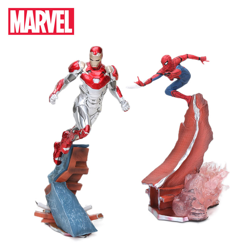 22-27cm Marvel Toys Avengers Action Figure Spiderman Ironman Thanos Mark MK47 Deadpool Danvers Statue KO's Iron Studio Figures(China)