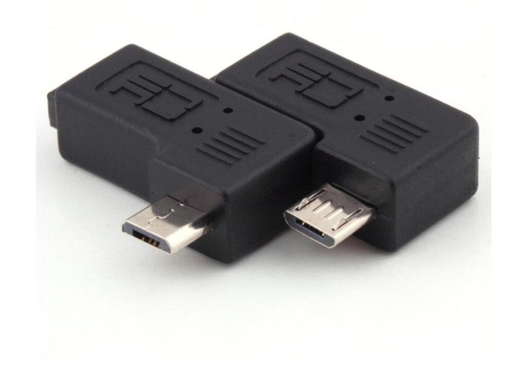 100 paire Angle droit gauche Micro USB mâle 90 degrés USB mâle à Micro femelle adaptateurs de prise 200 pièces-in Câbles de données from Electronique    1