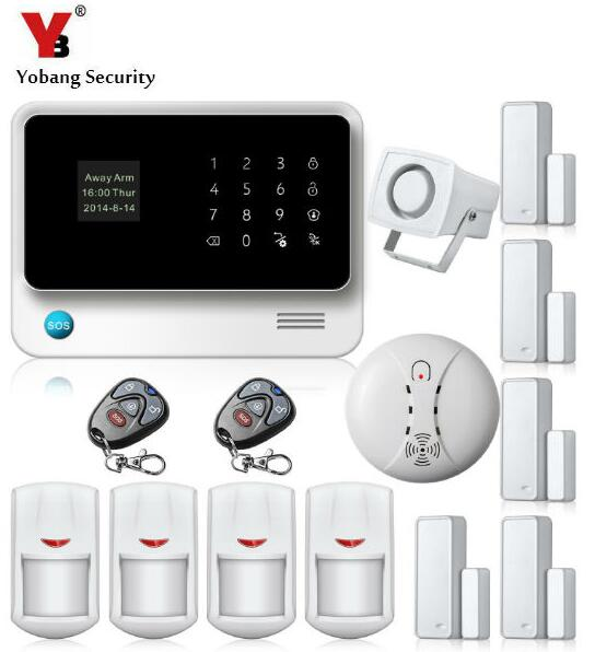 YobangSecurity 10 Wireless 8 Wired zones Home Security WIFI GSM Alarm System Android IOS APP Control Smoke Detector Door Sensor yobangsecurity wifi gsm gprs home security alarm system android ios app control door window pir sensor wireless smoke detector
