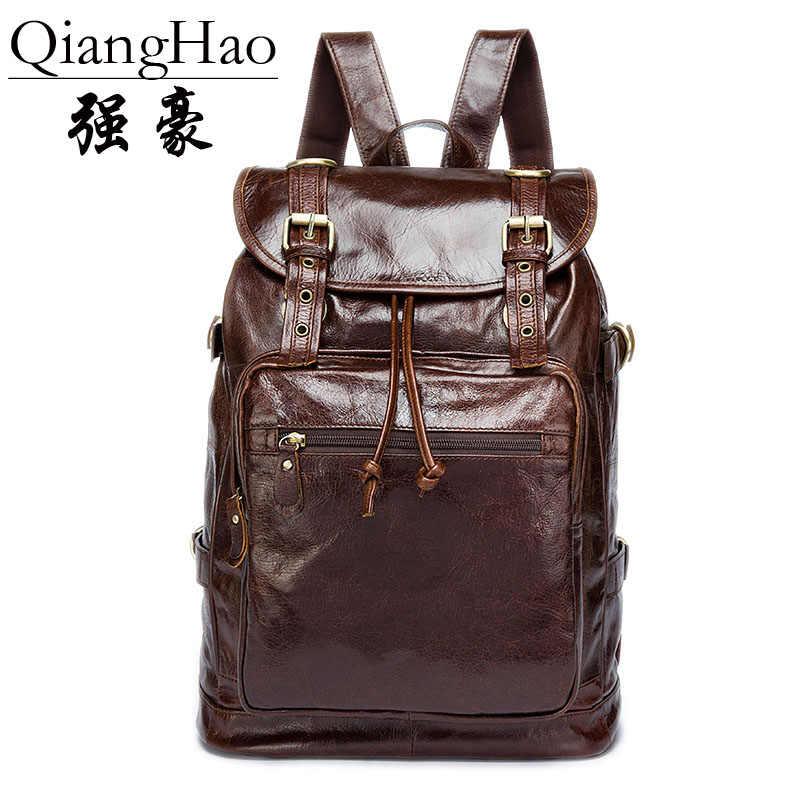 QiangHao бренд 100%, рюкзак из натуральной кожи, мужской рюкзак для путешествий, школьная сумка из натуральной кожи, сумка для выходных, новинка 2018