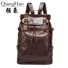 QiangHao brand 100% Genuine Leather Backpack Men Travel backpack real Leather School bag weekend bag Overnight New 2018(China)