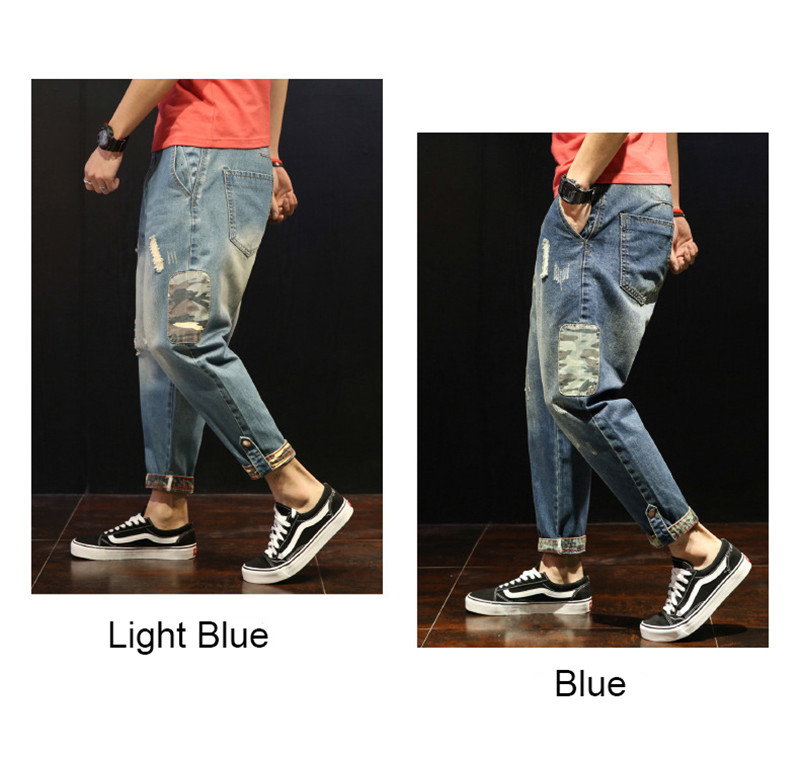 Fashion Patchwork Ripped Men's Jeans Boys Loose Casual Holes Ankle-Length Harem Pants Jeans Trousers Large Size (16)