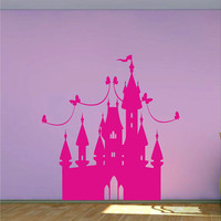Princess Castle wall decal girls fairytale bedroom Vinyl Wall Sticker DIY Baby Nursery Room Wall Art Decoration