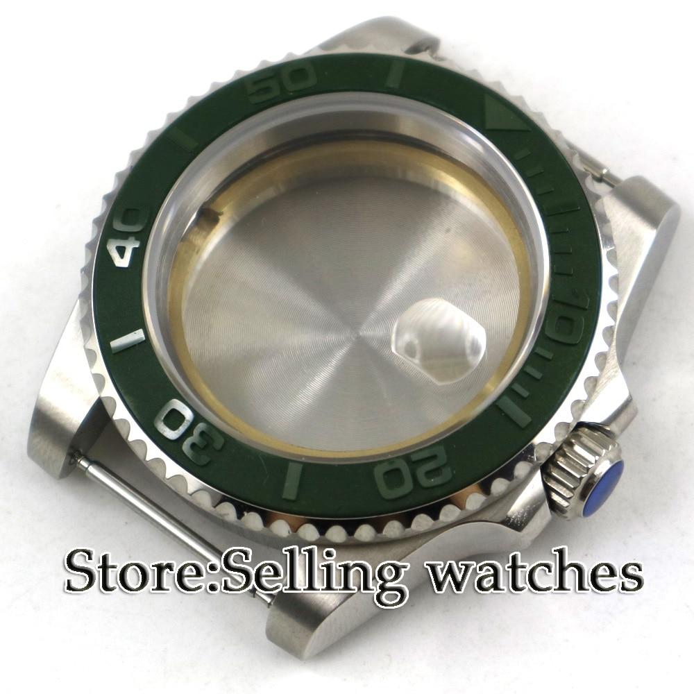 PARNIS 40mm Sapphire Glass Date Rotating Bezel High Quality Steel Watch Case fit ETA 2836 mingzhu 2813 miyota 82 series Movement Watch Faces     -