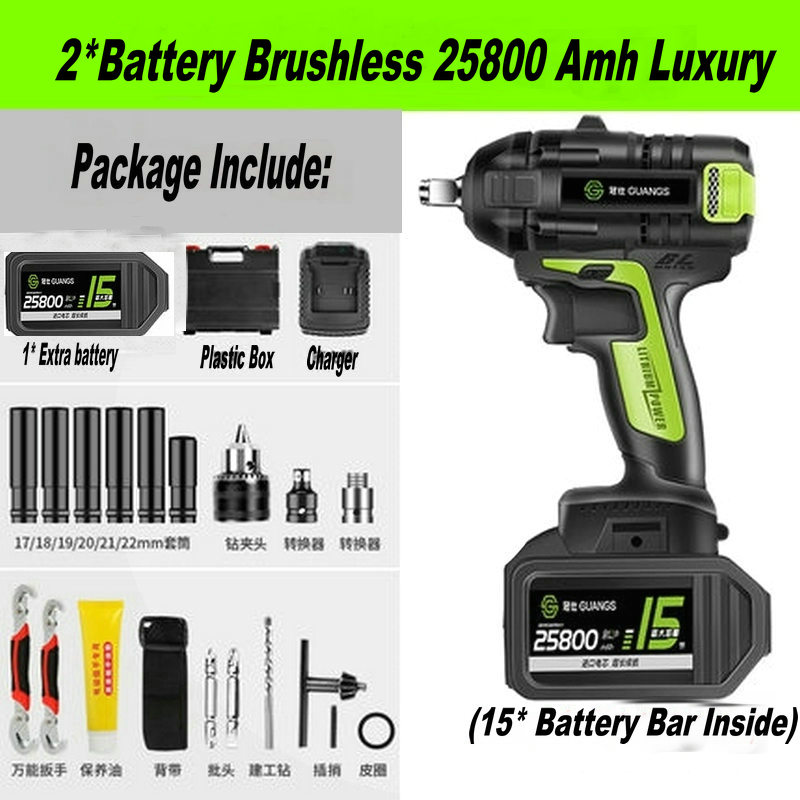 19800Amh Brush 25800Amh Brushless Cordless Electric Wrench Impact Socket Wrench Li Battery Hand Drill Hammer  Power Tools Set