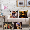 Mona Lisa Smile World Famous Paint Art Renaissance Oil Painting Cushion Cover Michelangelo Sistine Chapel Frescoes Pillow Cover