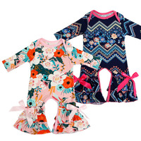 10 5 Ins Pajamas One Piece Baby Girl Rompers Floral Jumpsuit Floral Bow Long Sleeve