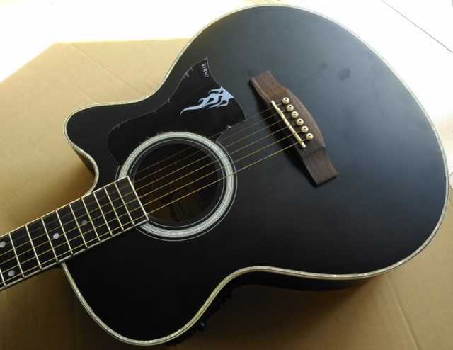 Matte Black Color Acoustic Electric Guitar 40 Inch Folk For Beginner
