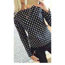 Fashion Women O-neck Long Sleeve Chiffon Casual Blouses Shirt Tops Slim Polka Dot Print OL Shirt Blouse Hot Seller Clothing Tops