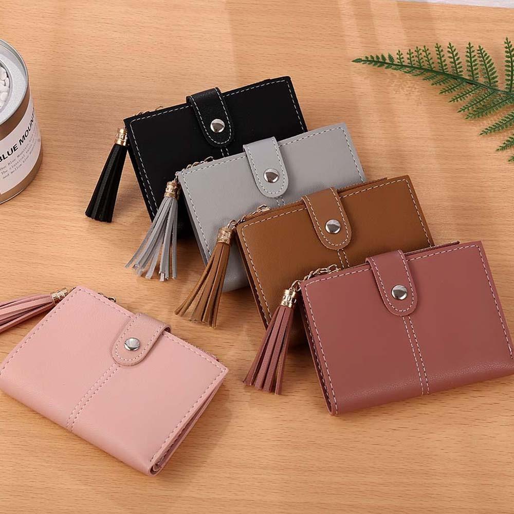 Top Quality Cute Women PU Simple Short Wallet Tassel Coin Purse Card Holders Handbag European minimalist design x# dropship
