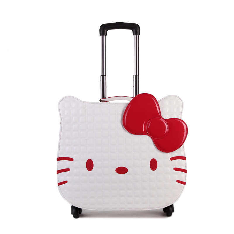 Hotsale!18inches pink pu hello kitty children trolley luggage,high quality cartoon animation travel luggage for girl,korea gift lovely hello kitty luggage children trolley travel bag 18 inch cartoon kids suitcases hello kitty bag for girls